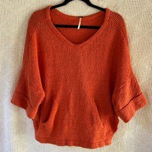 Free People Thick Sweater Handwarmer Pocket Orange